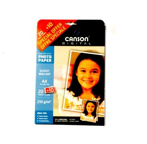 PAPEL DIN A-4 CANSON 210 GRS GLOSSY BRILLO P/20+10