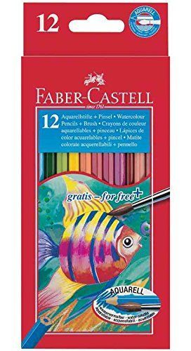 LAPICES COLORES FABER CASTELL 12 COLORES ACUARELABLES