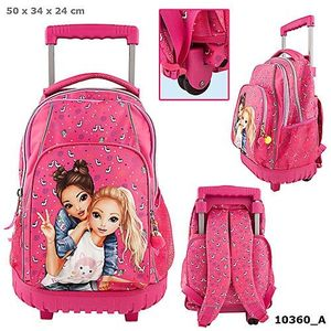 MOCHILA DOBLE CON CARRO FIJO TOP MODEL SUMMER FRIENDS ROSA FUCSIA ESTAMPADO ALPACA DEPESCHE 10360