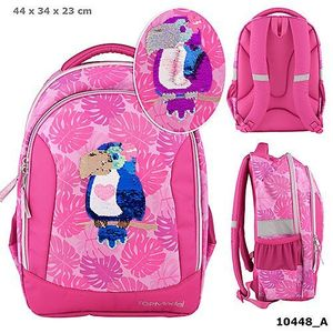 MOCHILA ESCOLAR SOFT TOP MODEL TUCAN FRIENDS TROPICAL SUMMER ROSA CON LENTEJUELAS REVERSIBLES DEPESCHE 10448