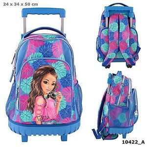 MOCHILA DOBLE CON CARRO FIJO TOP MODEL SUMMER VERANO TROPICAL AZUL DEPESCHE 10422