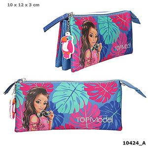 PORTATODO TRIPLE ESTUCHE TOP MODEL VERANO SUMMER TROPICAL AZUL DEPESCHE 10424