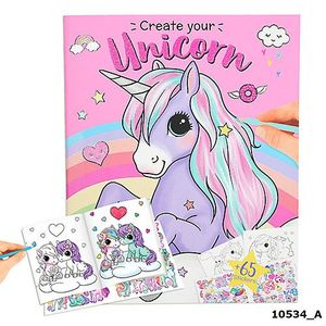 CUADERNO PARA COLOREAR Y CON PEGATINAS CRETATE YOUR UNICORN YLVI AND THE MINIMOOMIS TOP MODEL DEPESCHE 10534 UNICORNIO ROSA