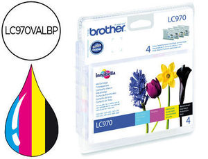 CARUCHO INK-JET BROTHER LC-970 PACK NEGRO/CIAN/MAGENTA/AMARILLO