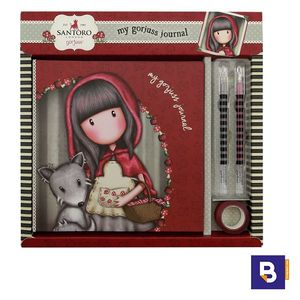 SET REGALO CON DIARIO Y 2 BOLIGRAFOS DE GEL GORJUSS LITTLE RED RIDING HOOD SANTORO LONDON 869GJ01