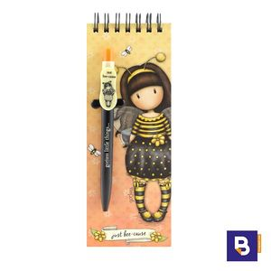 LIBRETA ALARGADA BLOC CON BOLIGRAFO GORJUSS BEE LOVED JUST BEE CAUSE ABEJA SANTORO LONDON 799GJ11