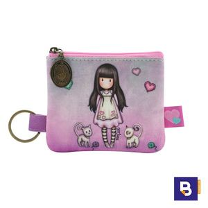 MONEDERO PLANO CON LLAVERO GORJUSS TALL TAILS GATITOS SANTORO LONDON 899GJ02