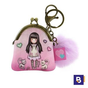 LLAVERO MINI MONEDERO CON CIERRE DE CLIP METALICO Y POMPON GORJUSS TALL TAILS GATITOS SANTORO LONDON 919GJ02