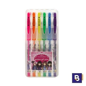SET 6 BOLIGRAFOS DE GEL GORJUSS FIESTA SANTORO LONDON 935GJ01