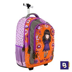 MOCHILA DOBLE CON CARRO TROLLEY GORJUSS FIESTA COBWEBS SANTORO LONDON 480GJ11 CON RUEDAS