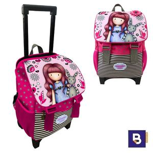 MOCHILA PEQUEÑA CON CARRO FIJO Y SOLAPA TROLLEY CON TAPA GORJUSS FIESTA MY GIFT TO YOU SANTORO LONDON 942GJ01 CON RUEDAS