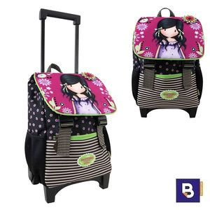 MOCHILA PEQUEÑA CON CARRO FIJO Y SOLAPA TROLLEY CON TAPA GORJUSS FIESTA YOU BROUGHT ME LOVE SANTORO LONDON 942GJ02 CON RUEDAS