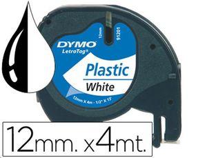 CINTA ROTULAR LETRATAG PLASTICO FONDO BLANCO LETRAS NEGRO 12MMX 4METROS 91201