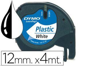 CINTA DYMO 12MMX4MTS NEGRO/BLANCO PARA LETRATAG 91201