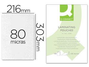 FUNDA DE PLASTIFICAR A4 303 X 216 MM 80 MC C/100 UDS Q-CONNECT