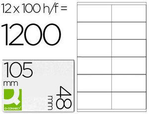 ETIQUETA ADHESIVA Q-CONNECT KF10657 TAMAÑO 105X48 MM FOTOCOPIADORA LASER INK-JET CAJA CON 100 HOJAS