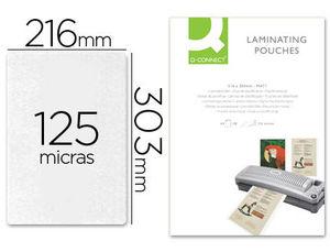 FUNDA DE PLASTIFICAR A4 303 X 216 MM 125 MC MATE SIN REFLEJOS C/100 UDS Q-CONNECT