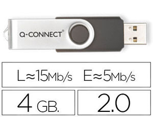PEN DRIVE USB 2,0 4 GB Q-CONNECT (CANON 0,24 € LPI INCLUIDO)
