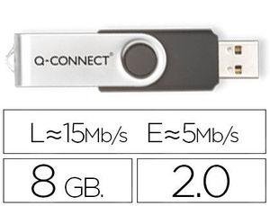 PEN DRIVE USB 2,0 8 GB Q-CONNECT (CANON 0,24 € LPI INCLUIDO)