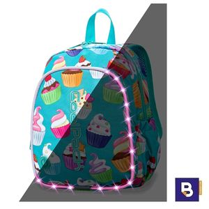 MOCHILA PEQUEÑA CON LEDS COOLPACK BOBBY CUPCAKES LED PACK AZUL A23203