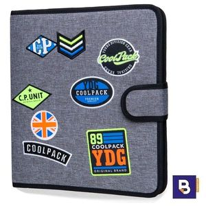 CARPETA DE TELA COOLPACK CON 4 ANILLAS RINGBOOK MATE BADGES GREY B80052 PARCHES GRIS