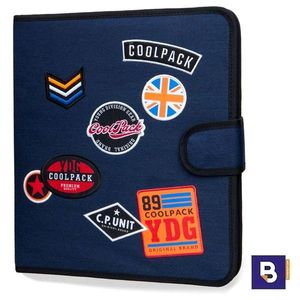 CARPETA DE TELA COOLPACK CON 4 ANILLAS RINGBOOK MATE BADGES BLUE B80053 PARCHES AZUL OSCURO