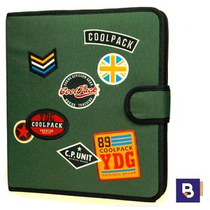 CARPETA DE TELA COOLPACK CON 4 ANILLAS RINGBOOK MATE BADGES GREEN B80054 PARCHES VERDE MILITAR