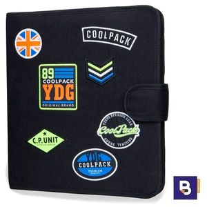 CARPETA DE TELA COOLPACK CON 4 ANILLAS RINGBOOK MATE BADGES BLACK B80055 PARCHES NEGRO