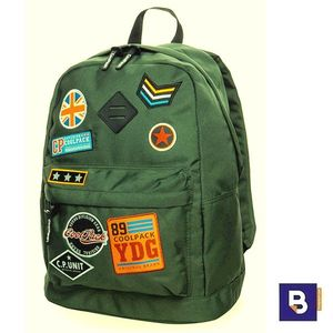MOCHILA COOLPACK CROSS BADGES GREEN B26054 PARCHES VERDE MILITAR