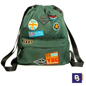 SACO MOCHILA COOLPACK URBAN BADGES GREEN B73054 PARCHES VERDE MILITAR
