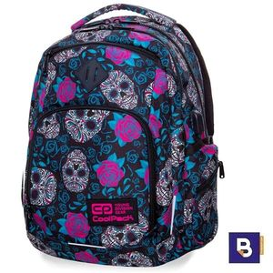 MOCHILA TRIPLE COOLPACK BREAK USB SCULLS AND ROSES B24049 NEGRA CALAVERAS Y ROSAS