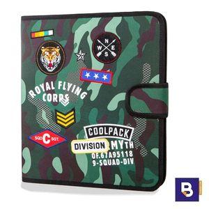 CARPETA CON CUBIERTA DE TELA RECAMBIO 4 ANILLAS RINGBOOK COOLPACK MATE CAMO GREEN BADGES CAMUFLAJE VERDE A80110