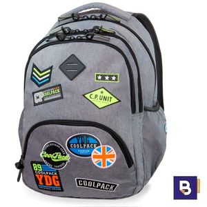 MOCHILA TRIPLE COOLPACK BENTLEY XL BADGES GREY B24052 PARCHES GRIS