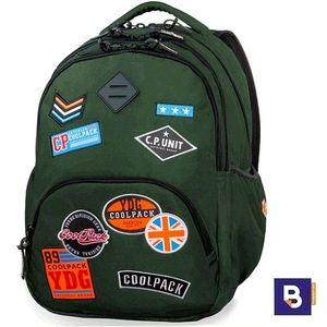 MOCHILA TRIPLE COOLPACK BENTLEY BADGES GREEN B24054 PARCHES VERDE MILITAR