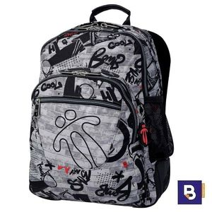 MOCHILA DOBLE TOTTO MORRAL CRAYOLES ESTAMPADO WALLER MA04ECO029 1910N 9G1 GRAFITTI GRIS