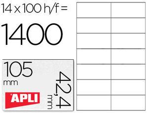 ETIQUETAS APLI REF 01277 105X42,4 MM C/100 14 ETIQUETAS X HOJA