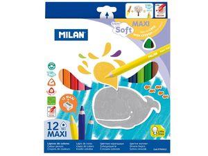 LAPICES COLORES TRIPLUS MILAN 12 UNIDADES MAXI 961 SUPER SOFT 0792612