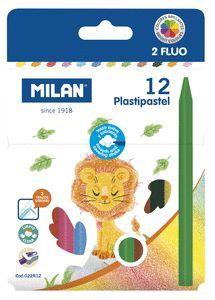 PINTURAS CERAS PLASTICAS MILAN PLASTIPASTEL 12 UNIDADES