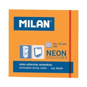 TACO BLOC NOTAS ADHESIVAS MILAN 76X76 NARANJA NEON 85435