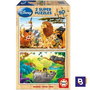 PUZZLE DE MADERA EDUCA BORRAS 2 X 50 PIEZAS ANIMAL FRIENDS 13144 REY LEON Y LIBRO DE LA SELVA