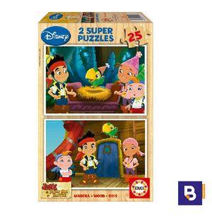 PUZZLE MADERA EDUCA 2 X 25 PIEZAS JAKE Y LOS PIRATAS 15597