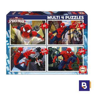 PUZZLE EDUCA MULTI 4 PUZZLES 50 + 80 + 100 + 150 PIEZAS SPIDERMAN 15642