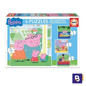 PUZZLE EDUCA PUZZLES PROGRESIVOS 6 + 9 + 12 + 16 PIEZAS PEPPA PIG 15918
