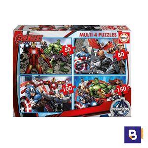 PUZZLE EDUCA MULTI 4 PUZZLES 50 + 80 + 100 + 150 PIEZAS AVENGERS 16331