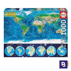 PUZZLE EDUCA 1000 PIEZAS MAPAMUNDI FISICO NEON 16761