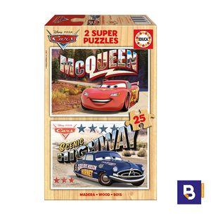 PUZZLE EDUCA DE MADERA 2 X 25 PIEZAS CARS 16799