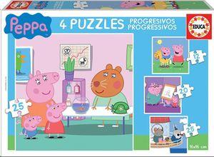 PUZZLE PROGRESIVO EDUCA BORRAS PEPA PIG 4 PUZZLES