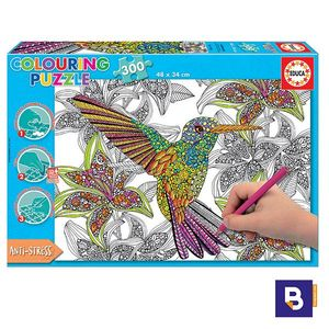PUZZLE EDUCA BORRAS 300 PIEZAS HUMMINGBIRD COLOURING PUZZLE PARA COLOREAR 17083