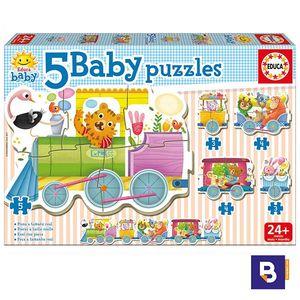 PUZZLE EDUCA BORRAS 5 BABY PUZZLES TREN ANIMALES 17142