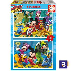 PUZZLE EDUCA BORRAS 2 X 20 PIEZAS MICKEY AND THE ROADSTER RACERS 17631 MICKEY MOUSE Y LOS SUPERPILOTOS